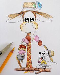 by Apredart Cute Monsters Drawings, Cute Animal Drawings, Pencil Art Drawings, Art Drawings Sketches, Easy Drawings, Giraffe Drawing, Giraffe Art, Doodle Art, Relaxing Art