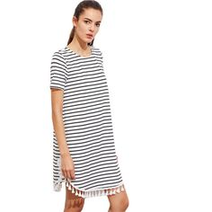 Now available in our store  Black and white S...  Check it out here  http://lorinas-store.myshopify.com/products/black-and-white-striped-t-shirt-dress-with-tassels?utm_campaign=social_autopilot&utm_source=pin&utm_medium=pin