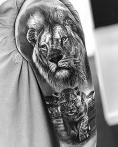 Lion tattoos hold different meanings. Lions are known to be proud and courageous creatures. So if you feel that you carry those same qualities in you, a lion tattoo would be an excellent match Lions Tattoo, Lion Cub Tattoo, Cubs Tattoo, Lion Head Tattoos, Daddy Tattoos, Lion Tattoo Design, Tiger Tattoo, Wolf Tattoos, Animal Tattoos