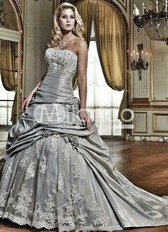 Shellsonthebeach silver wedding dress by colors gray silver wedding dress by milanoo junglespirit Images