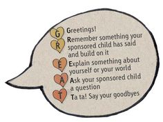 Compassion Australia has a GREAT sample letter for writing to your sponsored child