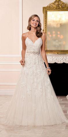 Stella York A-line Wedding Dress with V-neckline style 6347 b / http://www.deerpearlflowers.com/stella-york-fall-2016-wedding-dresses/2/