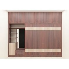 The wardrobe with dark wood color gives the attractive look.  Consisting loft, cabinet, dresser, wall shelf and drawers to fit in essentilas in an organized manner.  This unit can be used for multipurpose. The ample space offers you to place commodities as per your accordance.   Any modernized house will need a wardrobe like this to enhance the beauty of the bedroom.