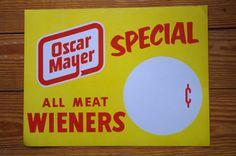Vintage 1950s 1960s Oscar Mayer Wiener Hot Dog by retrowarehouse