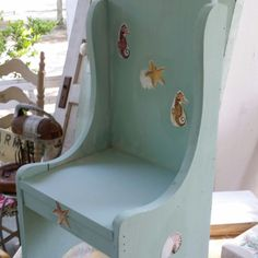 Here is another cute little chair that I am doing in a beach theme. I painted it with L'essentiel Botanics Vintage Mint.