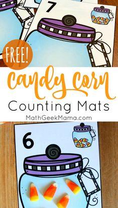 {FREE} Candy Corn Counting: Printable Math Mats Halloween Math, Theme Halloween, Halloween Crafts, Fall Crafts, Elementary Math, Kindergarten Math, Math Math, Math Teacher, Fun Math Activities