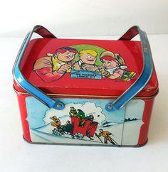 1948 Tin Litho Lunchbox Joe Palooka Comic Strip