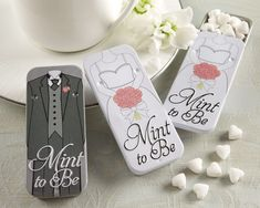 """Mint to Be"" Bride and Groom Slide Mint Tins with Heart Mints.  These are too cute I'm getting these for my reception."