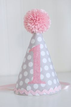 Pink and Gray Polka dot fabric party hat 1st birthday hat cake smash photo prop idea