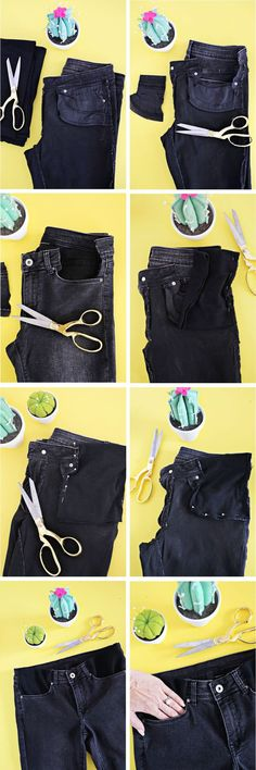 Ideas For Sewing Pants Alterations Fabrics Diy Jeans, Sewing Jeans, Sewing Clothes, Diy Fashion, Ideias Fashion, Womens Fashion, Sewing Alterations, Diy Kleidung, How To Hem Pants