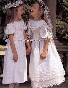 From Pegeen Classics - Girls Flower Girl Dresses with battenburg laces and 100% Irish Linen