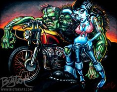 Shimmer & Rot by Big Toe Pin-Up Girl Kustom Kulture Canvas Art Print Zombie Man, Rockabilly Art, Kustom Kulture, Lowbrow Art, Print Artist, Pin Up Girls, Canvas Art Prints, Pop Art, Original Paintings