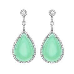 Chrysoprase and Diamond Earrings in 18ct White Gold - Completely one-of-a-kind mint chrysoprase drop earrings surrounding by dazzling diamonds in 18ct white gold. These stones are truly unique and Kiki will be unable to match their quality and size again.