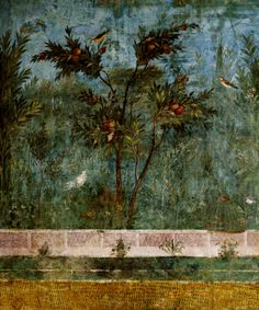 Villa Livia at Prima Porta, illusionistic fresco of a garden view in the Triclinium subterranean rooms, c. 30-20 BC. Rome.
