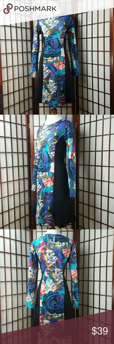 """SPENSE Floral Longsleeve A Line Dress Size 12 Pre-owned excellent condition no stains tears and pillings .. perfect!!  SPENSE SIZE 12 Floral pattern  A line dress style Longsleeve sleeve style  Made of polyester and spandex GORGEOUS DRESS  Measurements approximate  Pit to pit Shoulder 19.5"""" Waist 35"""" Shoulder to hem 38"""" Spense Dresses Long Sleeve"""