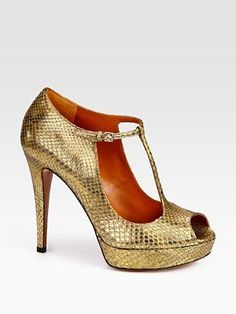 Betty Metallic Python Peep Toe T-Strap Sandals