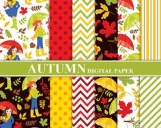 70% OFF SALE Autumn Girls Digital Paper - Digital Pattern, Autumn, Girl, Fall, Leaves, Chevron Papers for Personal and Commercial Use by tanitaart. Explore more products on http://tanitaart.etsy.com