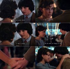 Mike asking eleven to dance snowball dance stranger things 2 Stranger Things Quote, Stranger Things Have Happened, Stranger Things Aesthetic, Stranger Things Season 3, Eleven Stranger Things, Stranger Things Netflix, Fandoms Unite, Stranger Danger, Book Tv