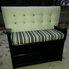 Old dresser turned into a bench.