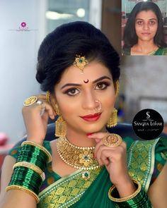 Dekho bhai makeover 👌👌 Beautiful model at sangita lohar bridal studio ✌ Bridal Hairstyle Indian Wedding, South Indian Bride Hairstyle, Indian Wedding Makeup, Bridal Hair Buns, Indian Bridal Hairstyles, Indian Bridal Fashion, Bridal Poses, Bridal Photoshoot, Saree Photoshoot