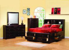Phoenix Transitional Deep Cappuccino Master Bedroom Set CST-2004
