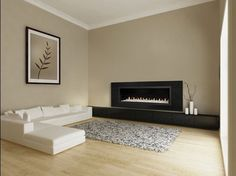 electric fireplace, low to floor... tv mounted above...
