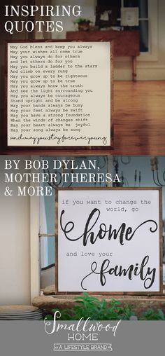Smallwood Home has everything you need to warm up your home and create inspiration wherever you turn, like these wooden framed signboards with well known and heart-felt quotes. Find one that speaks to you at smallwoodhome.com today.
