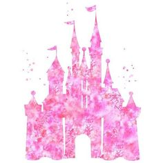 Pink Cinderella castle print, Disney castle, princess castle print,... ❤ liked on Polyvore featuring home, home decor, wall art, pink home decor, disney, disney home decor, watercolor wall art and pink flamingo wall art