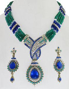 Shiny Royal Blue & Sea Green Beaded Necklace & Earrings Set