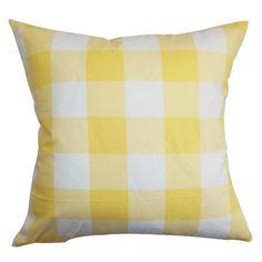 Yellow check pillow