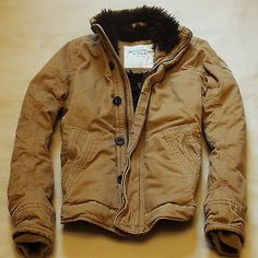 Abercrombie & Fitch Mens Warm & Heavy Jacket Coat Outerwear Sherpa Fur Hollister