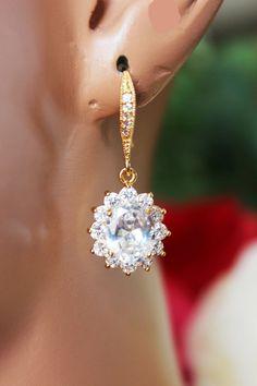 Crystal Drop Wedding Earrings Gold CZ Crystal by AuroraJewelryBox