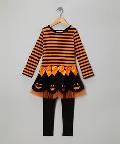 Take a look at this Orange Pumpkin Tutu Dress & Leggings - Infant, Toddler & Girls by Gerson & Gerson on #zulily today!