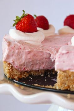 Easy No Bake Strawberry Cheesecake | Practically Homemade Strawberry Puree, Strawberry Desserts, Strawberry Cheesecake, Summer Desserts, Cheesecake Recipes, No Bake Desserts, Cupcake Recipes, Easy Desserts, Dessert Recipes