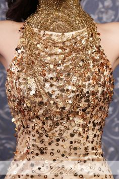 Sequined Gold Mermaid/Trumpet Backless High Neck Tulle Prom Dress