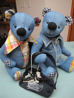 These fellas are made from denim shirts...maybe a plaid shirt too...