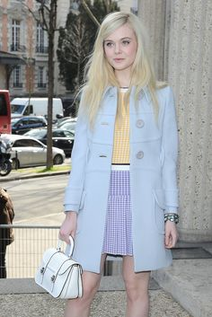 Elle Fanning at Miu Miu pretty pastel colours Fashion Week Paris, Trend Fashion, New York Fashion, Look Fashion, Winter Fashion, Fashion Beauty, Womens Fashion, Looks Chic, Looks Style