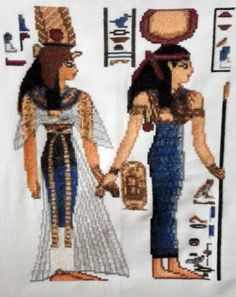 Egyptian cross stitch - Isis. Finished cross stitch picture