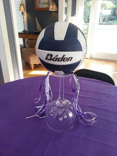 Centerpiece I made for daughter Emily Shelton's volleyball banquet by Debbie Shelton.