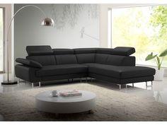 Canapé d'angle cuir COLISEE - Noir - Angle droit