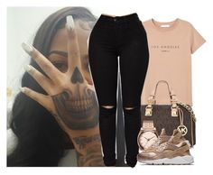 """ like a bad of money "" by aaleeyahxpetty ❤ liked on Polyvore featuring MANGO, Michael Kors, Nixon and NIKE"
