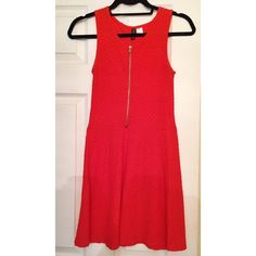 H&M Red/Orange Skater Dress Red/Orange cotton dress from H&M with silver front zipper. Once worn once. Can be worn with zipper open if desired. Size runs big H&M Dresses Mini