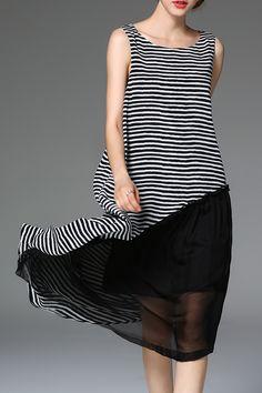 Ruffled Striped Midi Dress