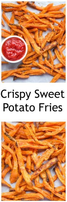 Crispy Baked Sweet Potato Fries have soft centers, and crispy edges. They are baked not fried- you wont feel guilty when eating these!