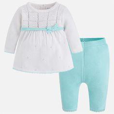 d2d01ec8d Conjunto vestido tricot niña Agua - Mayoral