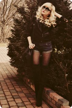 Love everything about this look - denim shorts and tights, #over-the-knee boots, leather and fringe. Put it on my tab!