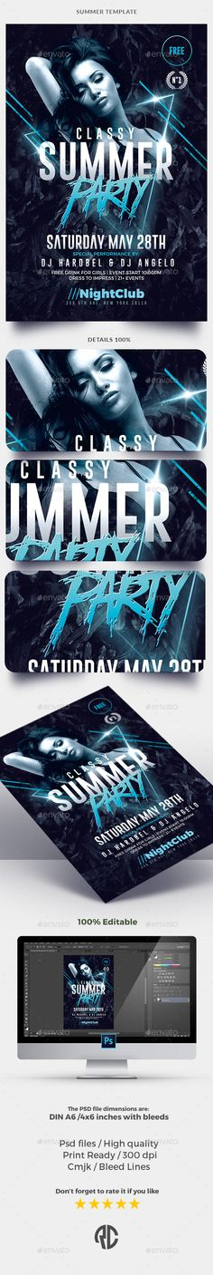 Summer Party - Flyer Templates - Clubs & Parties Events Download here: https://graphicriver.net/item/summer-party-flyer-templates/19986789?ref=classicdesignp