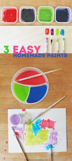 DIY Art Materials: 3 Easy Homemade Paints for Kids - Babble Dabble Do Kids Craft Supplies, Projects For Kids, Crafts For Kids, Art Projects, Painting Activities, Art Activities For Kids, Easy Art For Kids, Epic Kids, Montessori Art