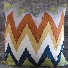Martyn L Bullard F Schumacher Lumbar Designer Pillow Cover Adras Ikat Caravan
