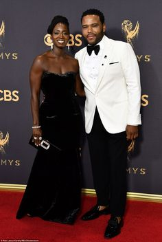 Looking sharp: Anthony Anderson and his pretty wife Alvina Stewart were a coordinate couple in black and white; the actor suited up in Giorgio Armani Celebrity Couple Costumes, Black Celebrity Couples, Black Love Couples, Cute Couples, Power Couples, Celebrity Pictures, Giorgio Armani, Black Celebrities, Celebs
